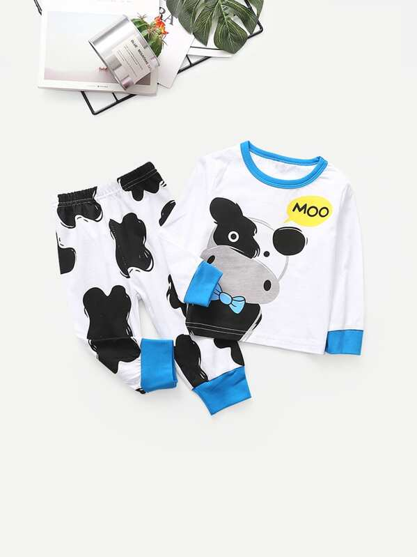 Toddler Boys Cartoon Print Top With Pants, null