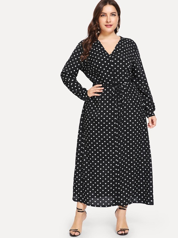 Plus Polka Dot Print Dress, Franziska