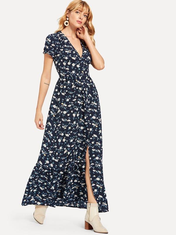 Floral Print V Neck Slit Hem Longline Dress, Masha
