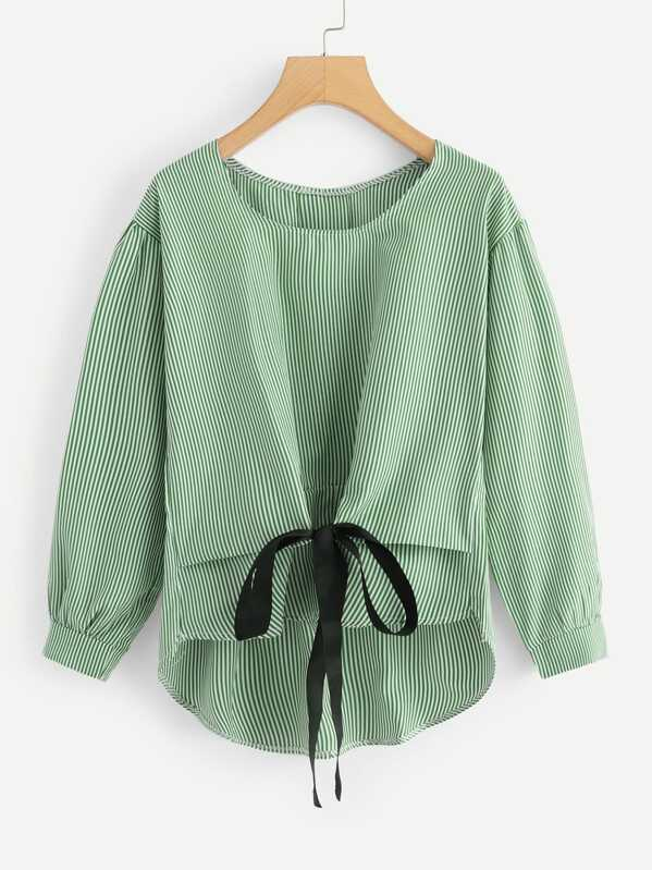 Knot Front High Low Striped Blouse, null
