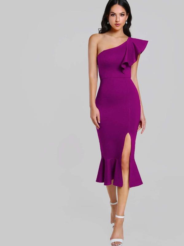 One Shoulder Slit Pep Hem Dress, Christen Harper
