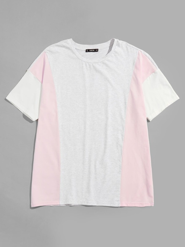 Men Cut And Sew Two Tone T-Shirt