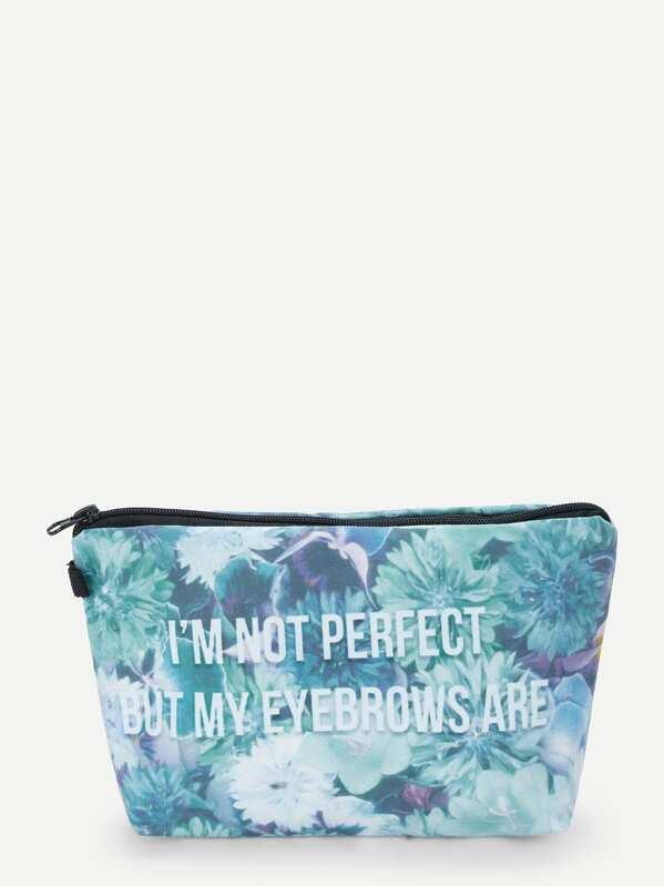 Letter & Flower Print Makeup Bag
