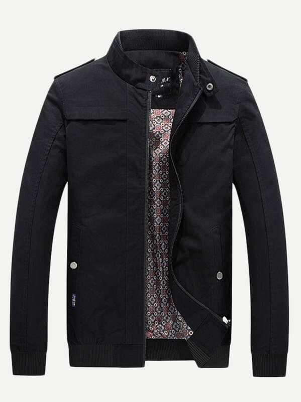 Men Stand Neck Zipper Fly Solid Jacket