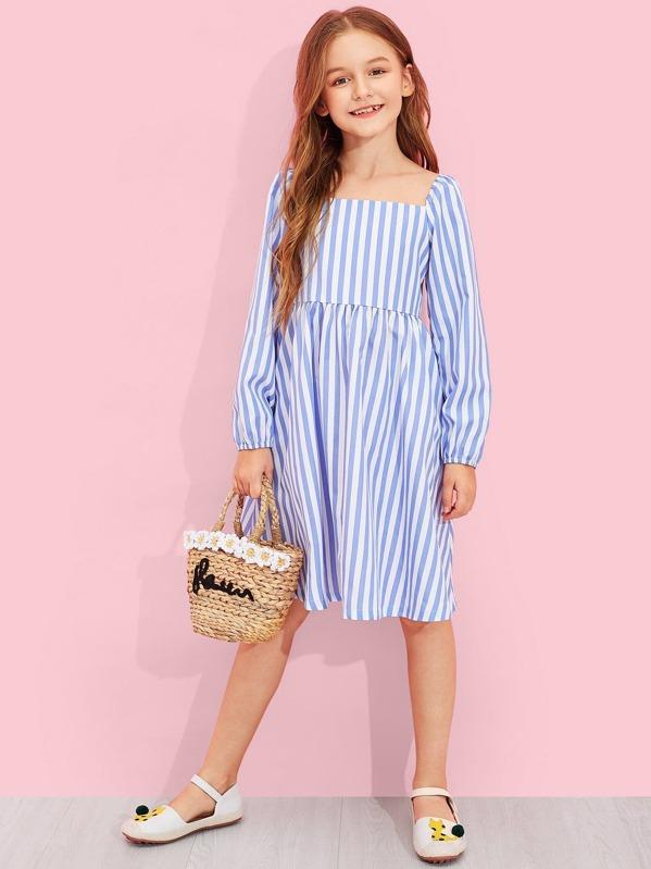 Girls Square Neck Striped Print Flare Dress, Sashab
