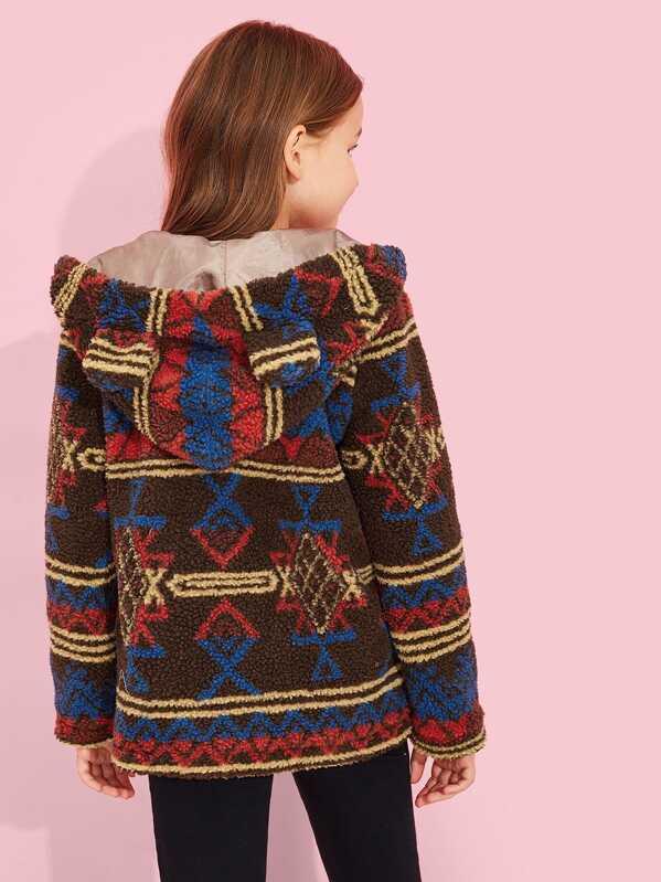 Girls Button Up Hoodie Fleece Teddy Jacket, Sashab