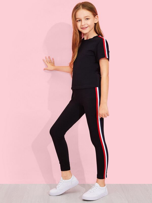 Girls Solid Striped Trim Top & Pants Set, Sashab