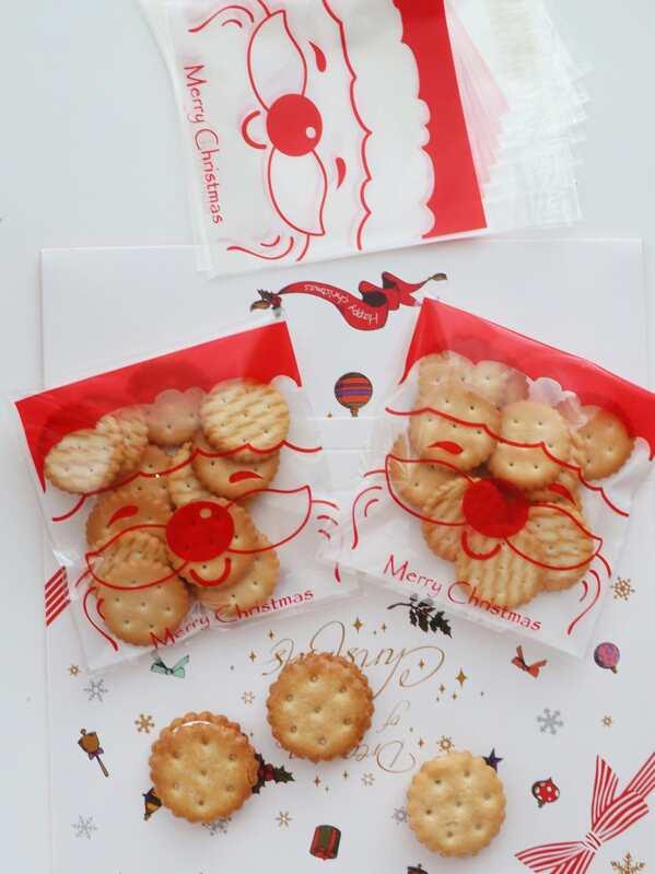 Christmas Santa Claus Cookie Bag 100pcs, null