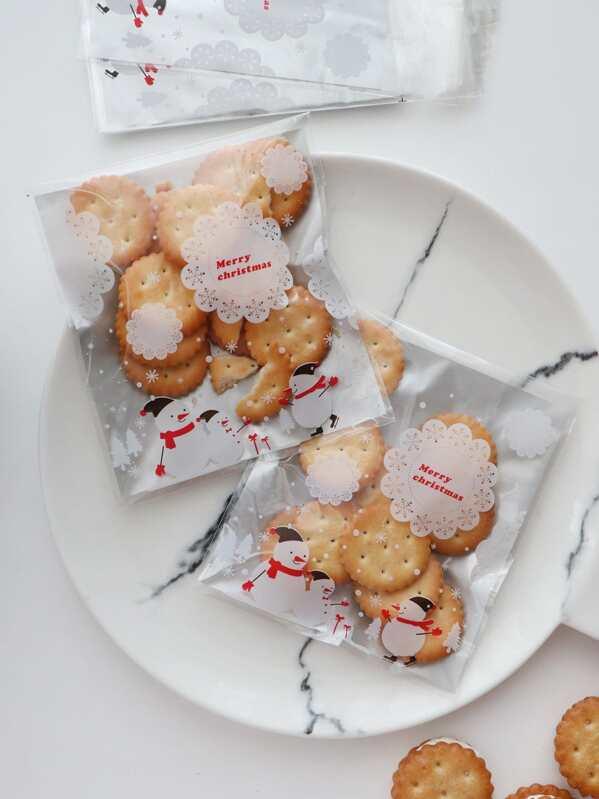 Christmas Santa Claus Cookie Bag 100pcs