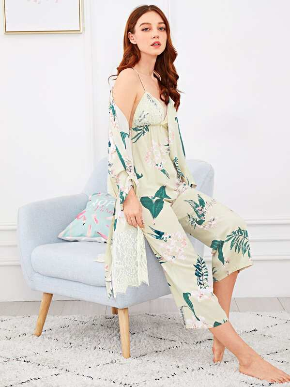 Floral Print Lace Trim Cami Pajama Set With Robe, Poly