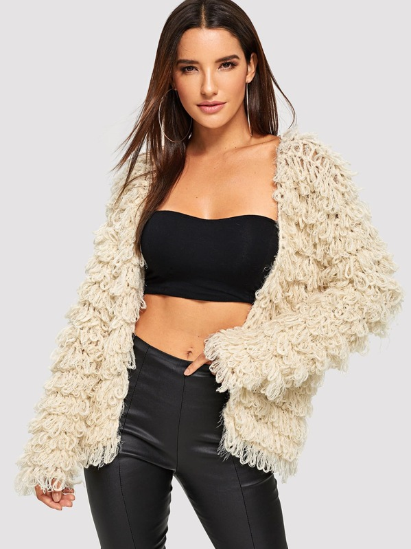 Solid Open Front Teddy Cardigan, Juliana