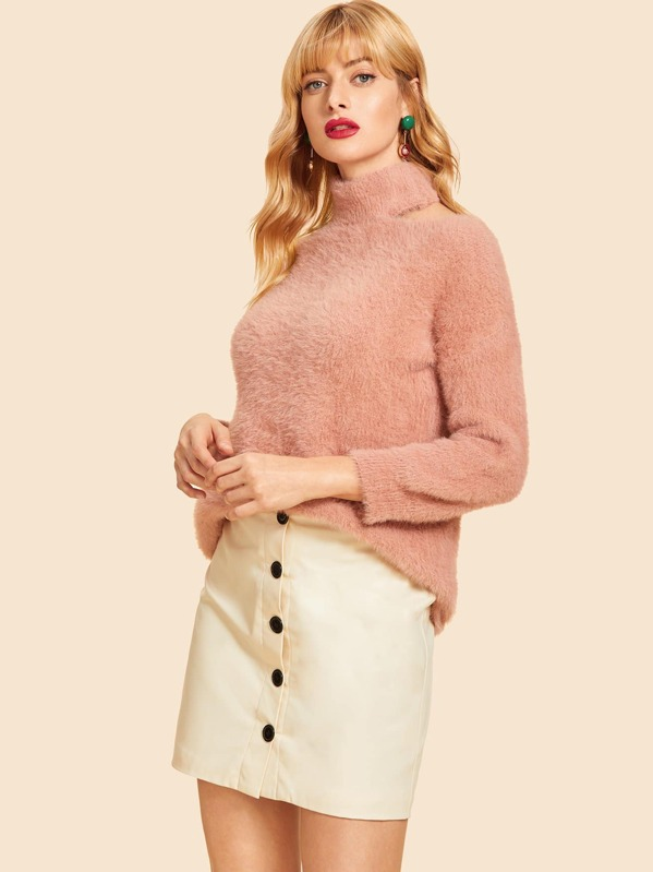 Cut Out High Neck Solid Fluffy Sweater, Masha