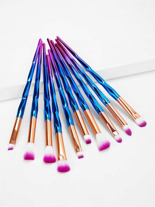 Ombre Handle Soft Makeup Brush 10pcs, null