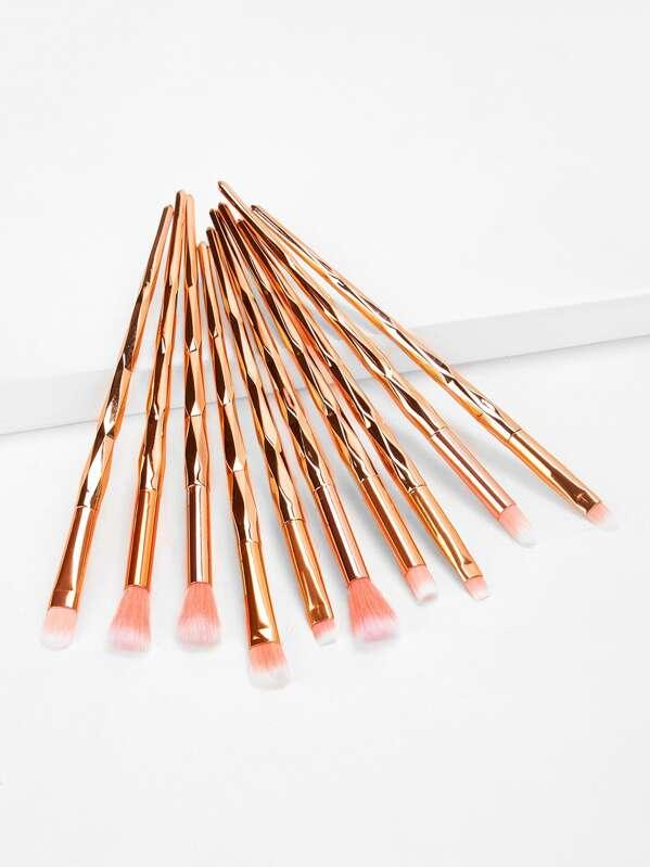 Metallic Handle Soft Makeup Brush 10pcs