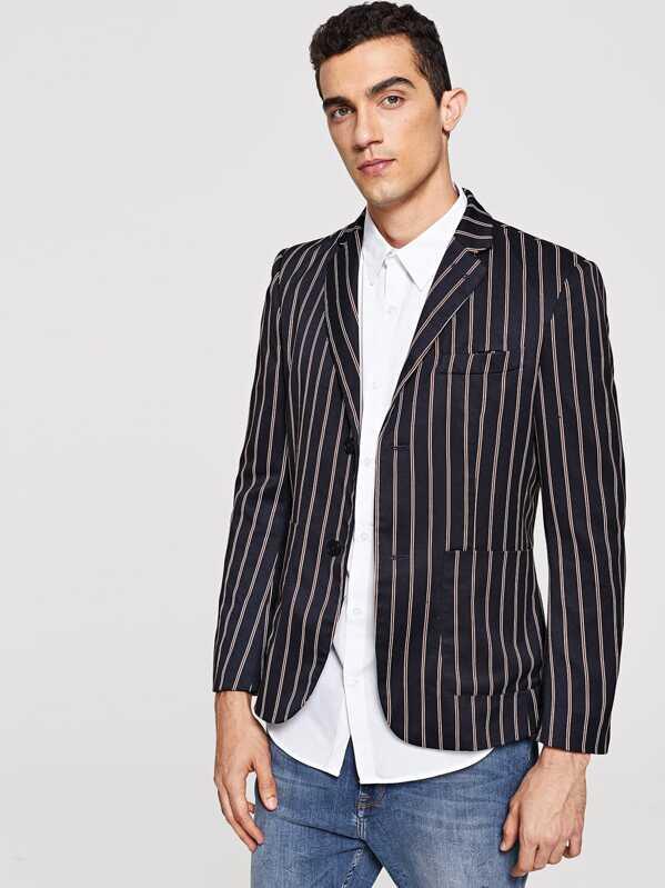 Men Pocket Front Notched Neck Striped Blazer, Lucas