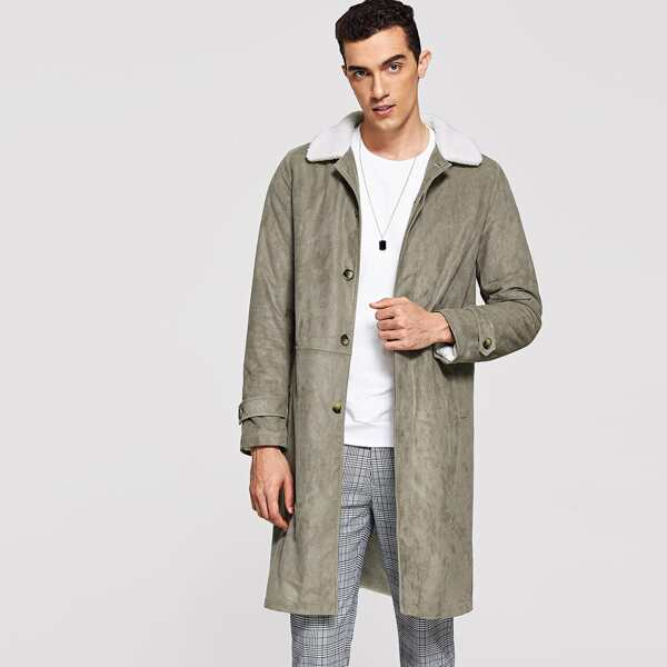 Men Single Breasted Faux Fur Collar Coat, Grey