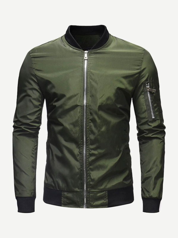 Men Zip Decoration Plain Windbreaker Bomber Jacket