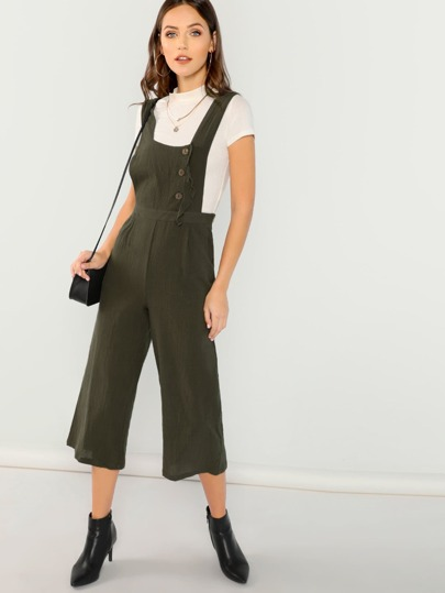 Cropped Button Detail Linen Overalls With Pockets