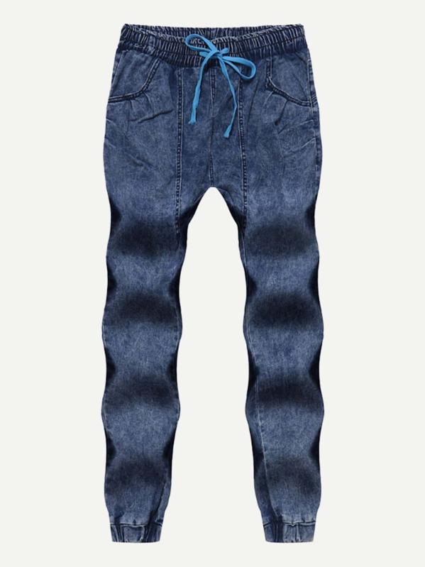 Men Washed Drawstring Jeans