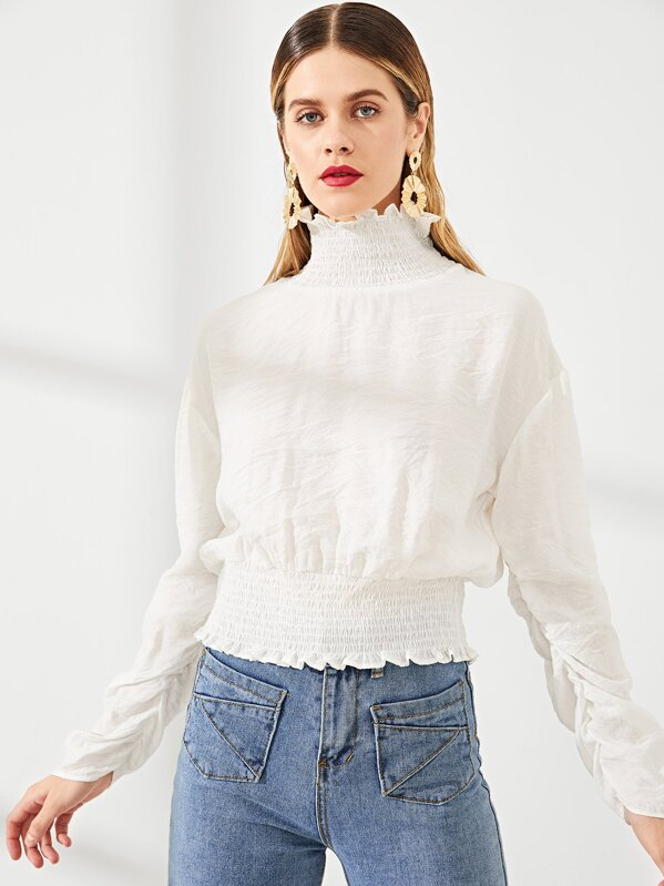 Frill And Shirred Trim Blouse, Victoriab