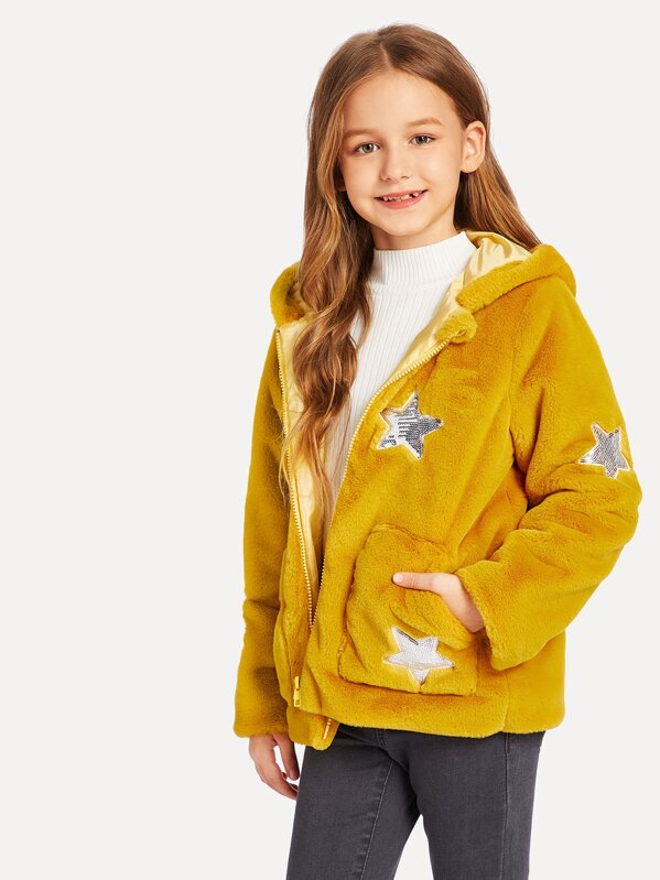 Girls Sequin Star Patched Faux Fur Hooded Teddy Jacket, Sashab