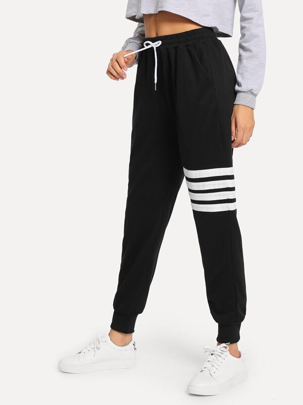 Drawstring Waist Varsity-Striped Sweatpants, Kary