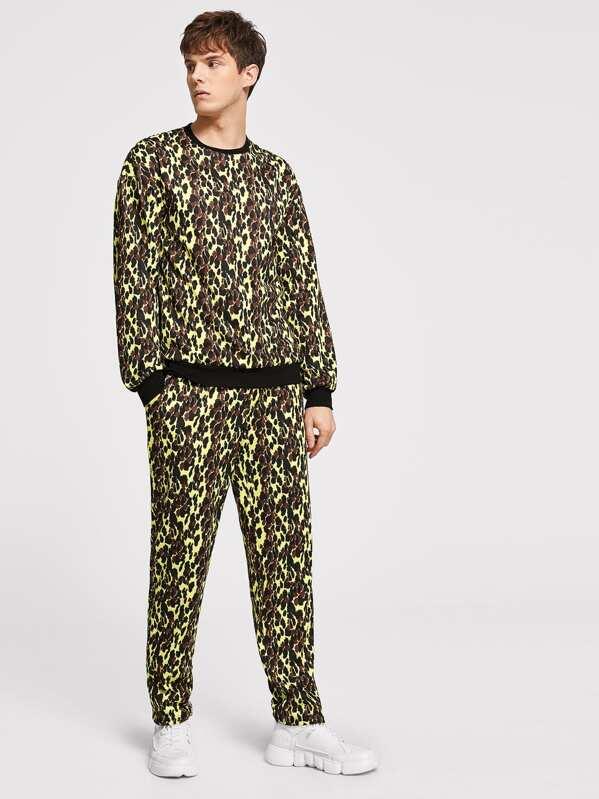 Men Contrast Trim Allover Print Pullover & Sweatpants Set, Roman P