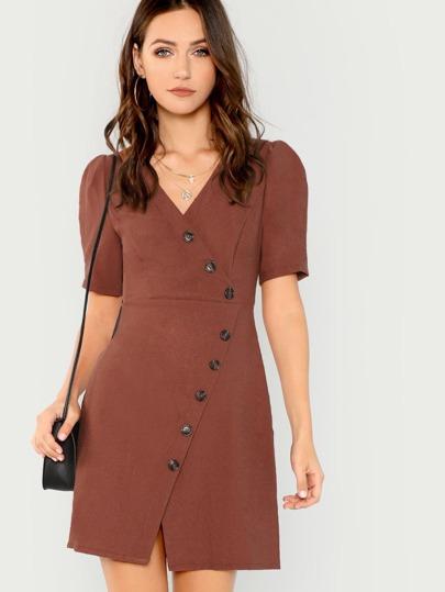 V-Neck Button Accent Short Sleeve Textured Dress