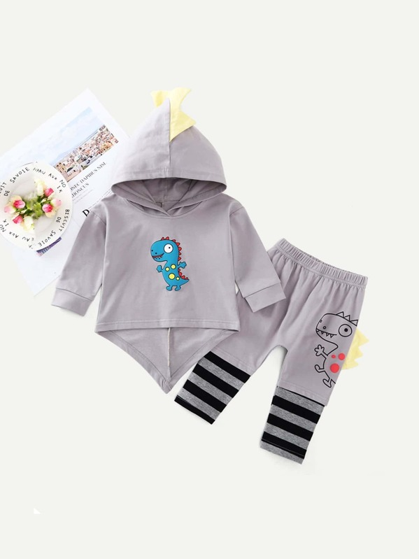 Toddler Boys Dinosaur Print Hooded Top With Pants, null