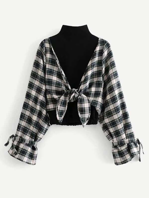 2 In 1 Knot Front Plaid Blouse