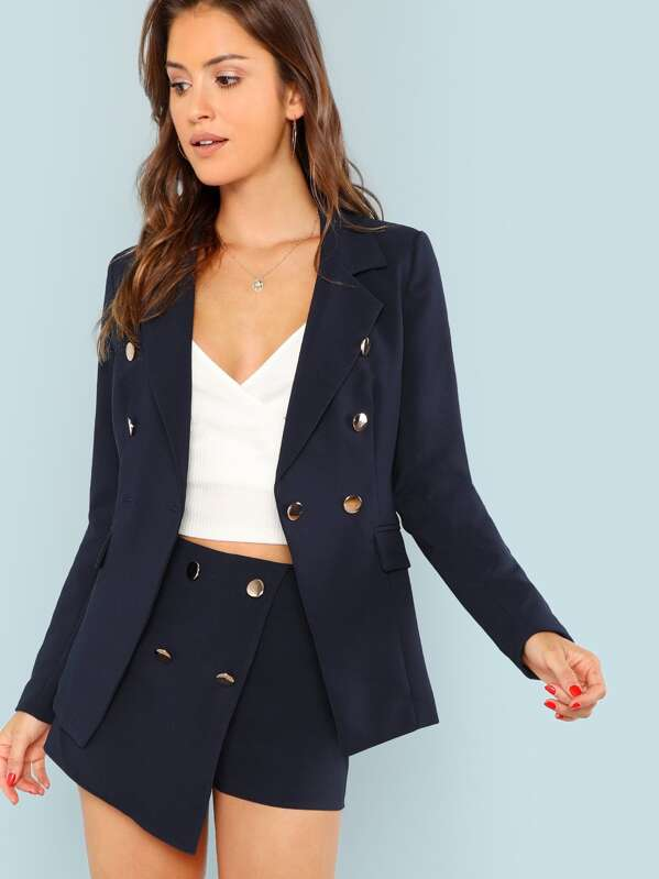 Double Breasted Solid Blazer, Gigi Paris