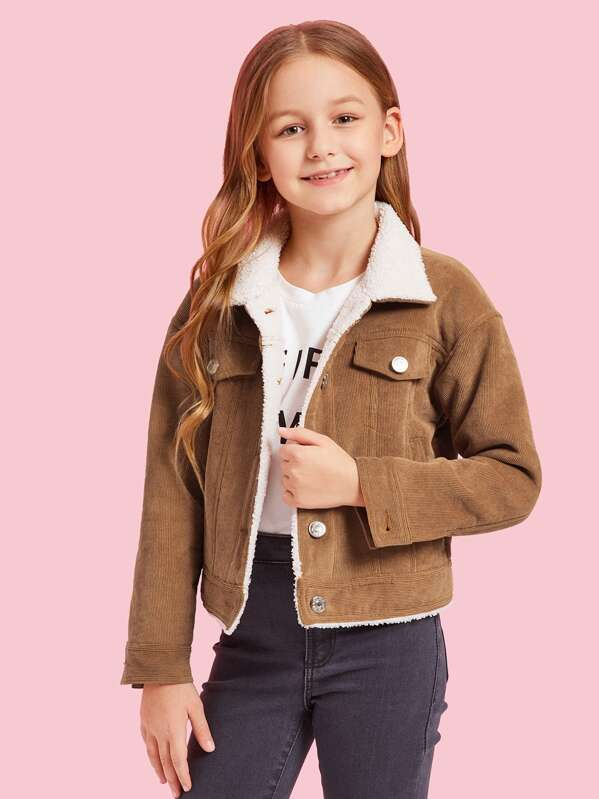 Girls Button Up Flap Pocket Corduroy Jacket, Sashab