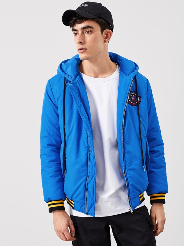Men Zipper Front Drawstring Hoodie Coat