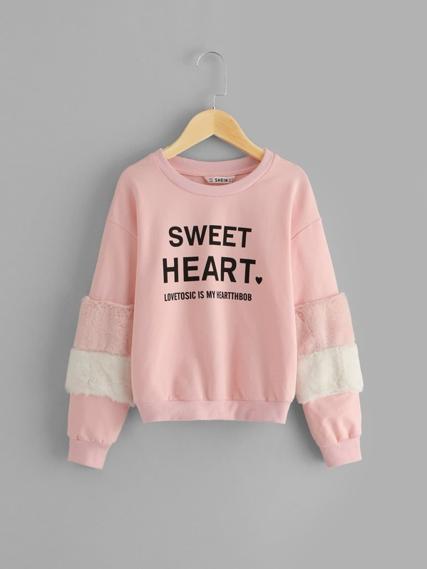 Girls Faux Fur Contrast Letter Print Pullover