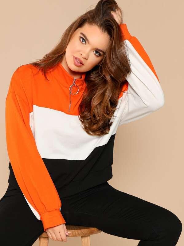 Plus Zip Front Cut and Sew Sweatshirt, Faith Bowman