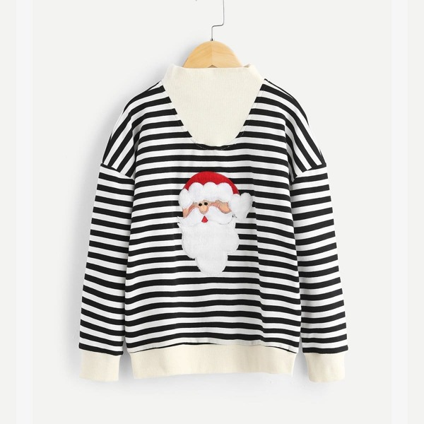 Toddler Boys Christmas Embroidered Striped Sweatshirt