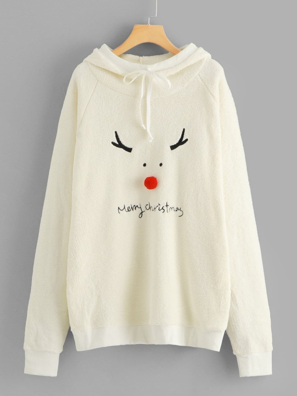 Christmas & Letter Embroidered Hoodie, null
