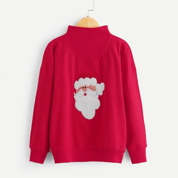 Toddler Boys Christmas Embroidered High Neck Sweatshirt