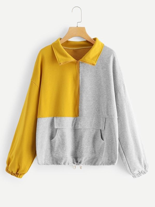 Plus Cut And Sew Panel Quarter Zip Sweatshirt