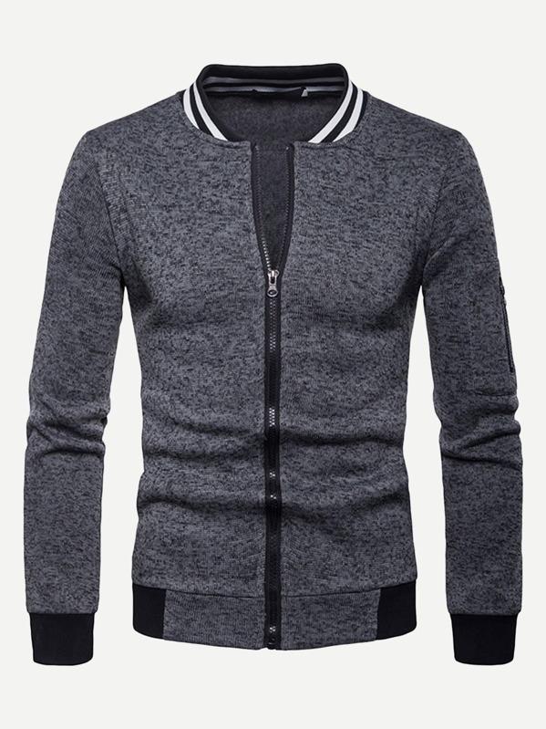 Men Contrast Striped Zip Up Sweatshirt