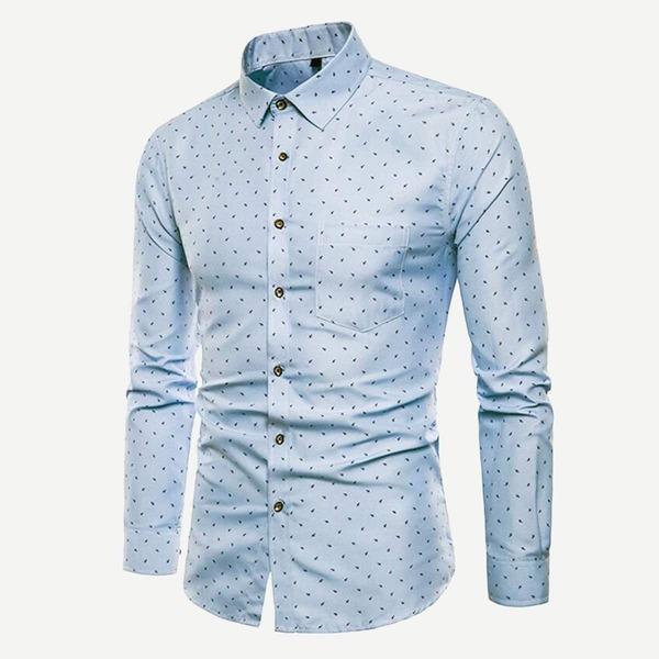 Men Random Print Shirt, Blue