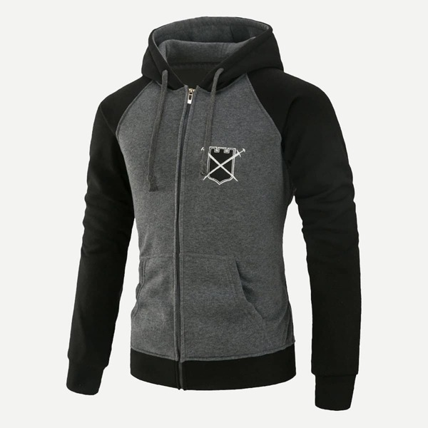 Men Patched Cut And Sew Hooded Sweatshirt, Multicolor