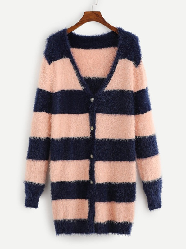 Plus Two Tone Open Front Fuzzy Cardigan