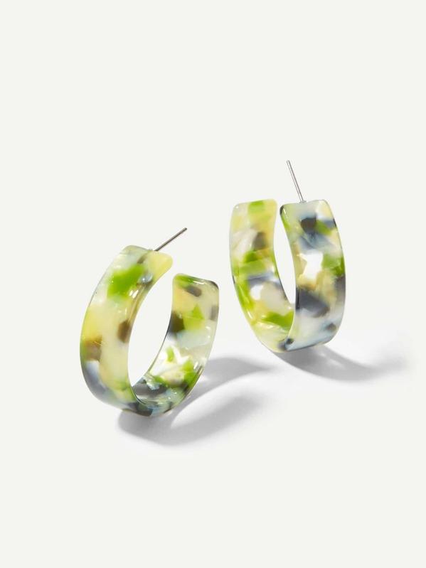 Marble Pattern Open Hoop Earrings 1pair, null