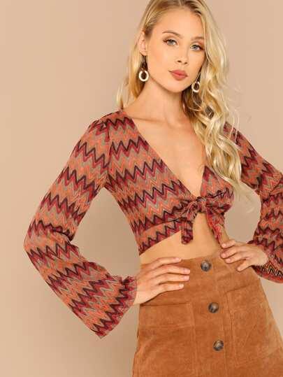 Zig Zag Knit Tie Front Long Sleeve Crop Top