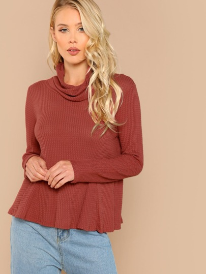 Waffle Knit Cowl Neck Long Sleeve Top