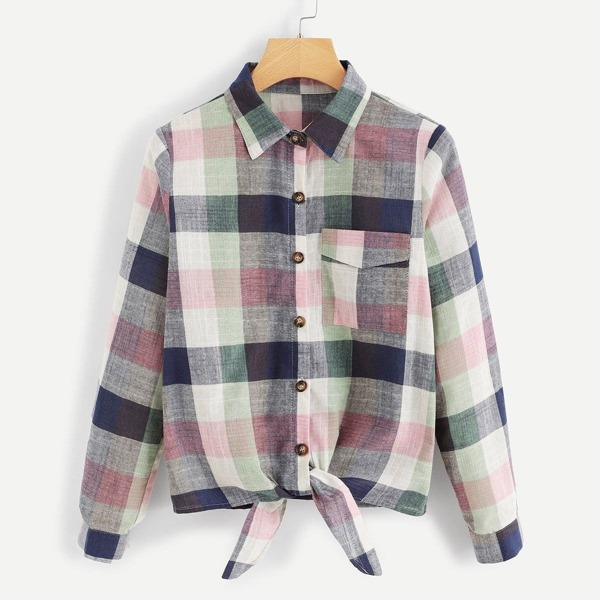 Knot Hem Pocket Patch Plaid Shirt, Multicolor