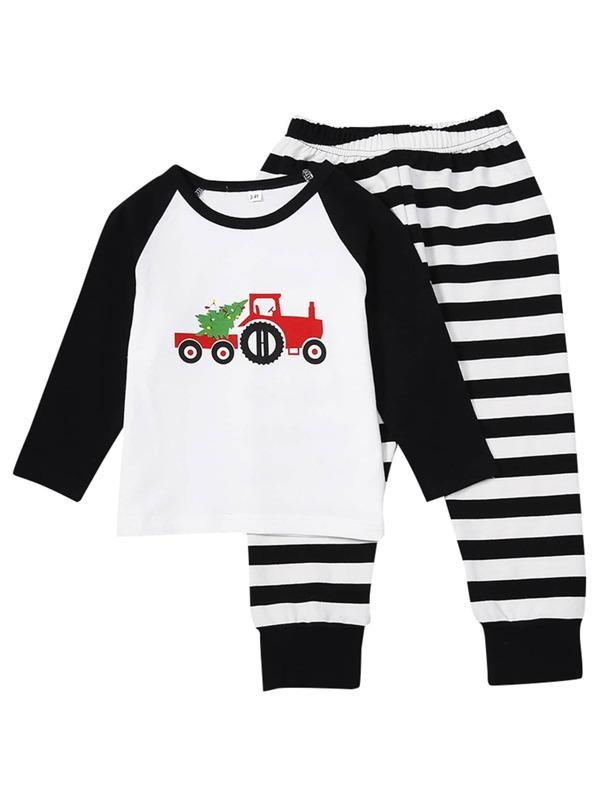 Christmas Car Print Striped Pajama Set, null