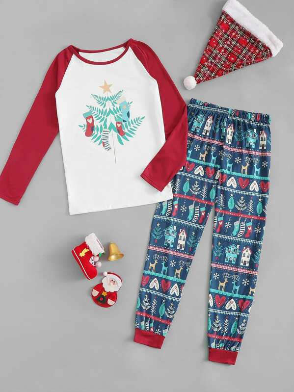 Christmas Mixed Print Pajama Set, null