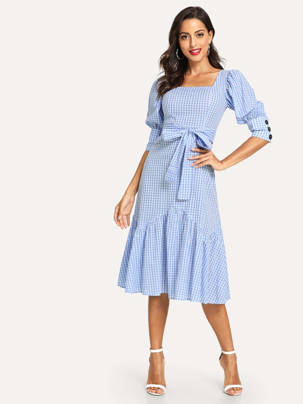 Puff Sleeve Ruffle Hem Plaid Belted Dress, Mary P.